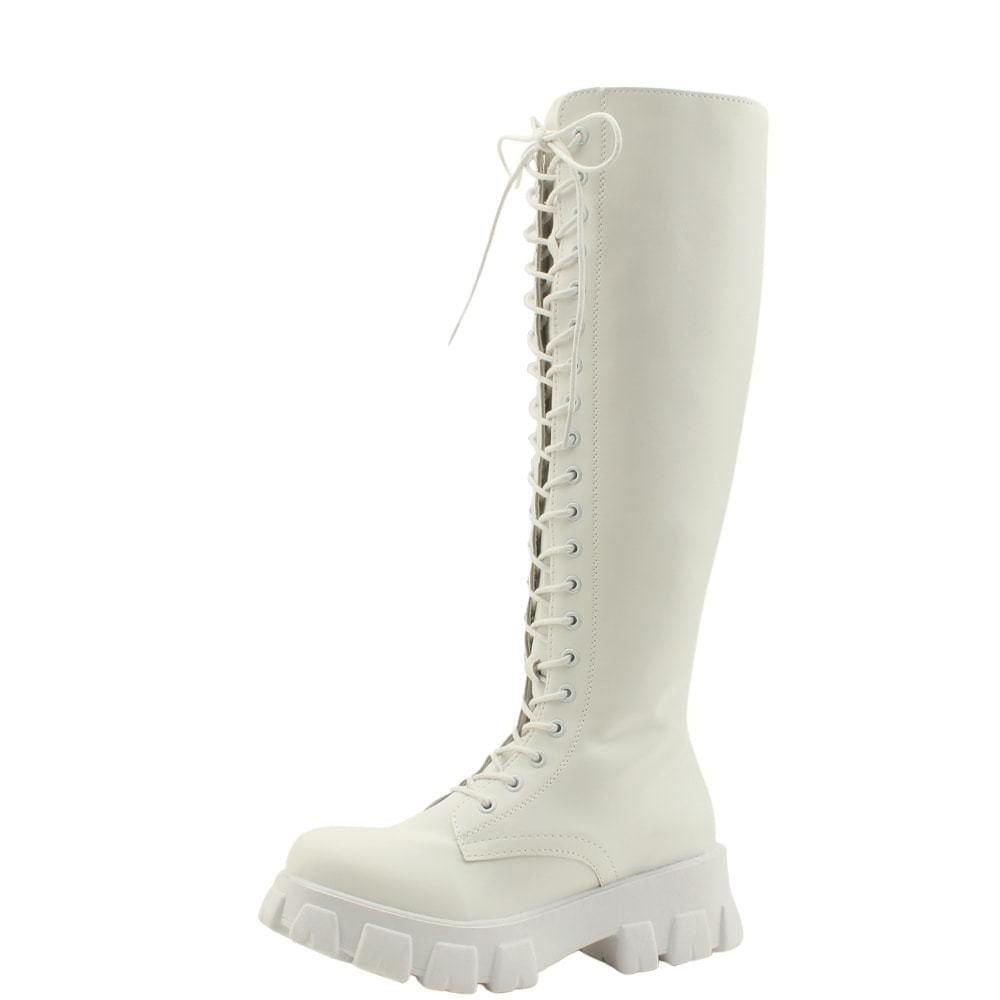 Lace-Up Tall Heeled Walker Long Boots White