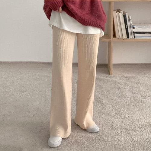 Ribbed Knitwear Wide Long Pants