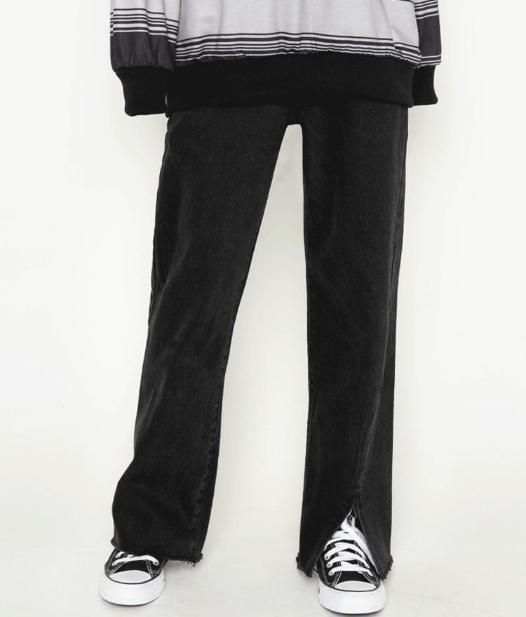 Asymmetrical Slit Loose Jeans