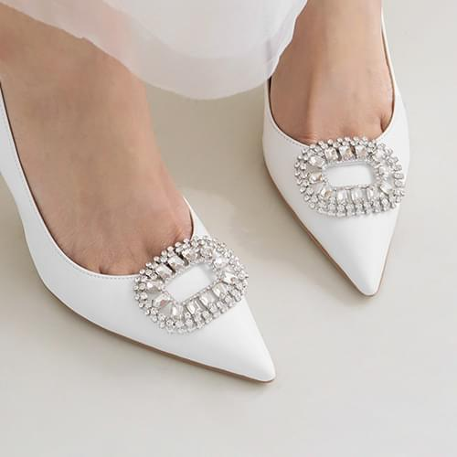 round square cubic shoe brooch