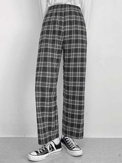 Maron Check Wide Pants