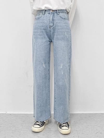 Print Denim Wide Pants