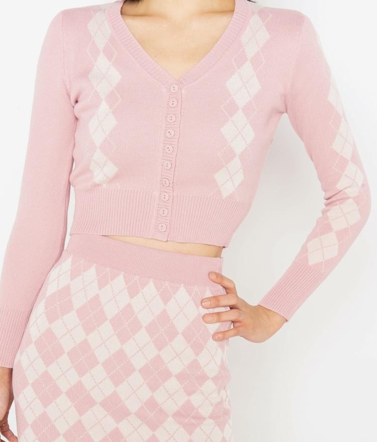 Pink Argyle Pattern Cardigan
