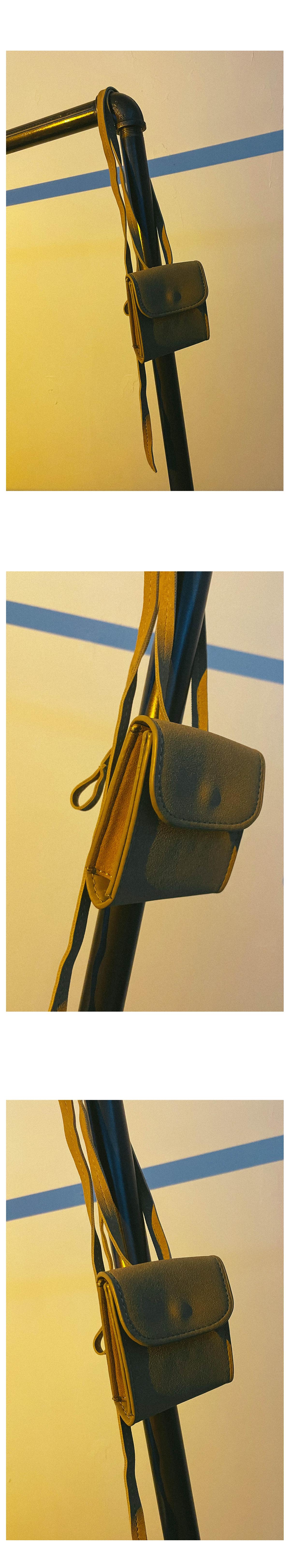 Suede cross and belt mini bag