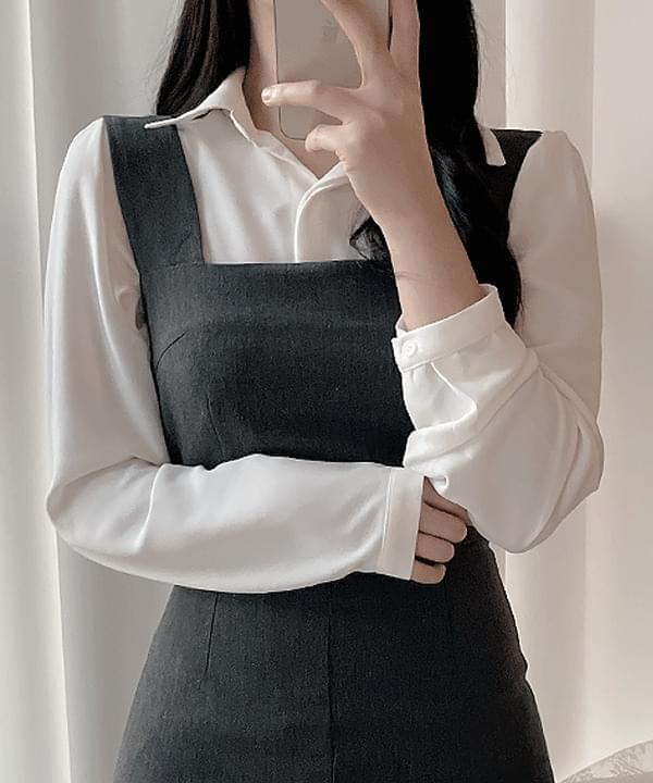 Modern hidden collar blouse 2color 衬衫
