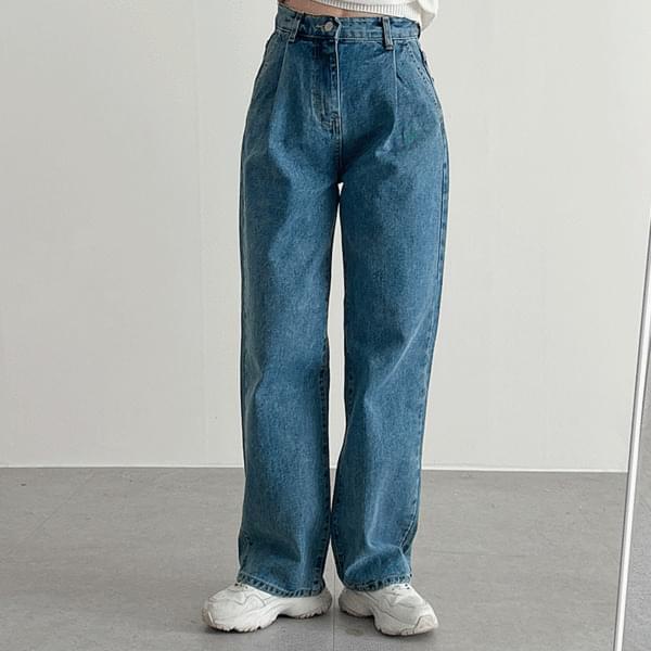 Pintuck Denim Wide Pants