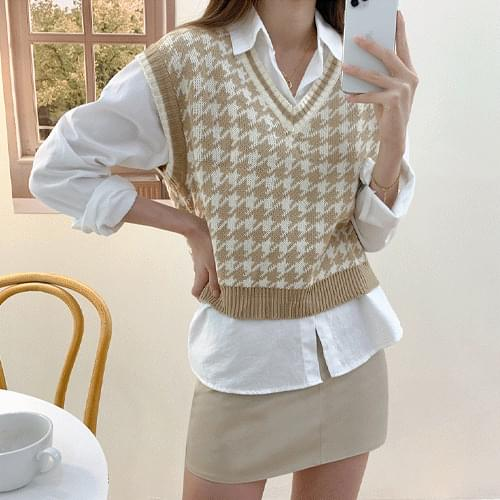 5color Mouse Check Pattern V Neck Color Matching Knitwear Vest T#YW839
