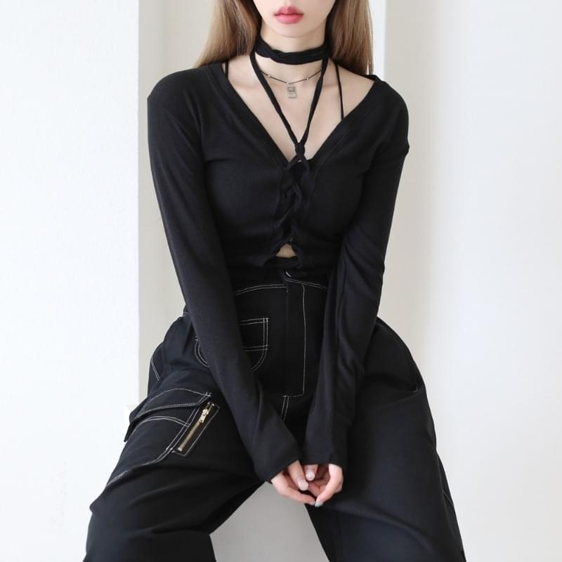 scone string cropped T-shirt