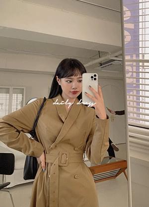 Gallardine Double Button Belt Long Dress