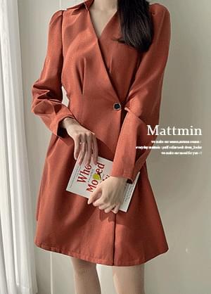 Matmin open collar wrap style pintuck back banding Dress