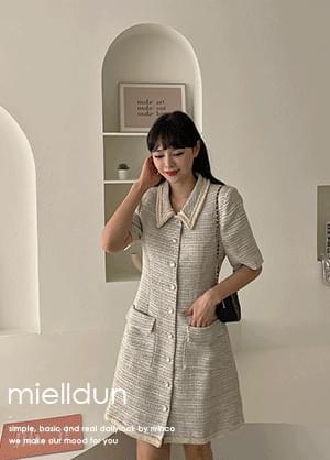 Mieldon collar neck pearl tweed Dress