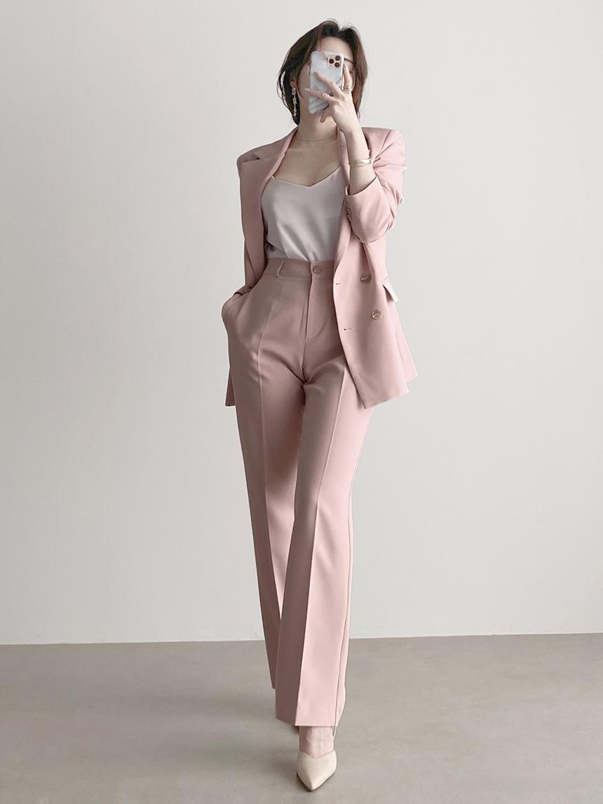 Straight high waist straight fit slacks two-piece set 3color