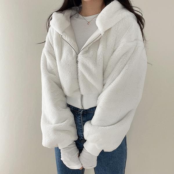 mink fur hooded zip-up