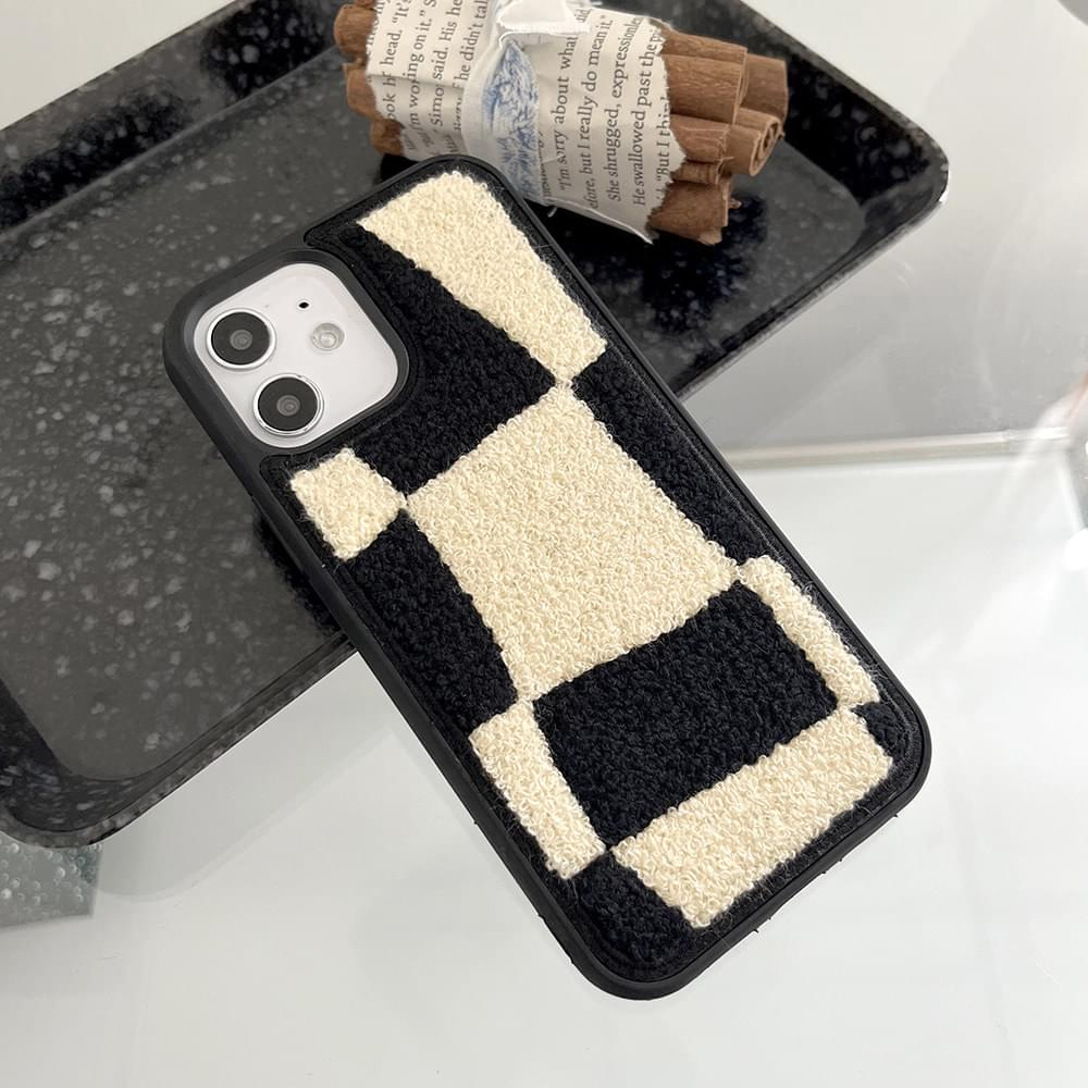 Fluffy Checkerboard Embroidered Bumper iPhone Case
