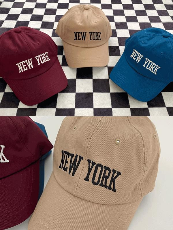 New Yorker lettering embroidery ball cap -3color