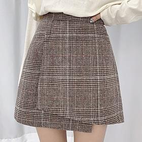 Teddy Wrap Check Banding Skirt