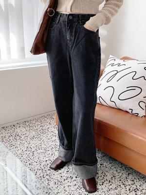 Black Denim Wide Roll Up Pants