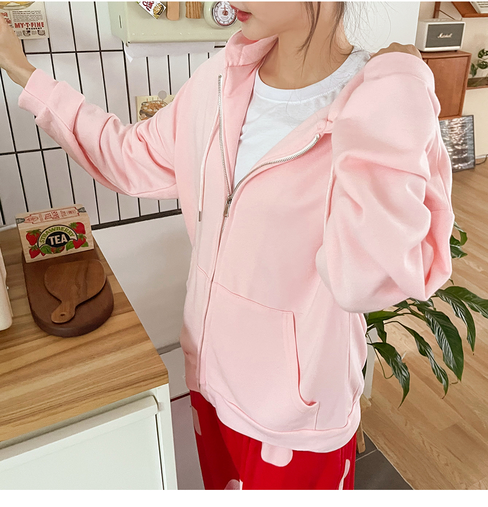 Big Size 55-120 Colin Daily Overfit Pink Hood Zip Up