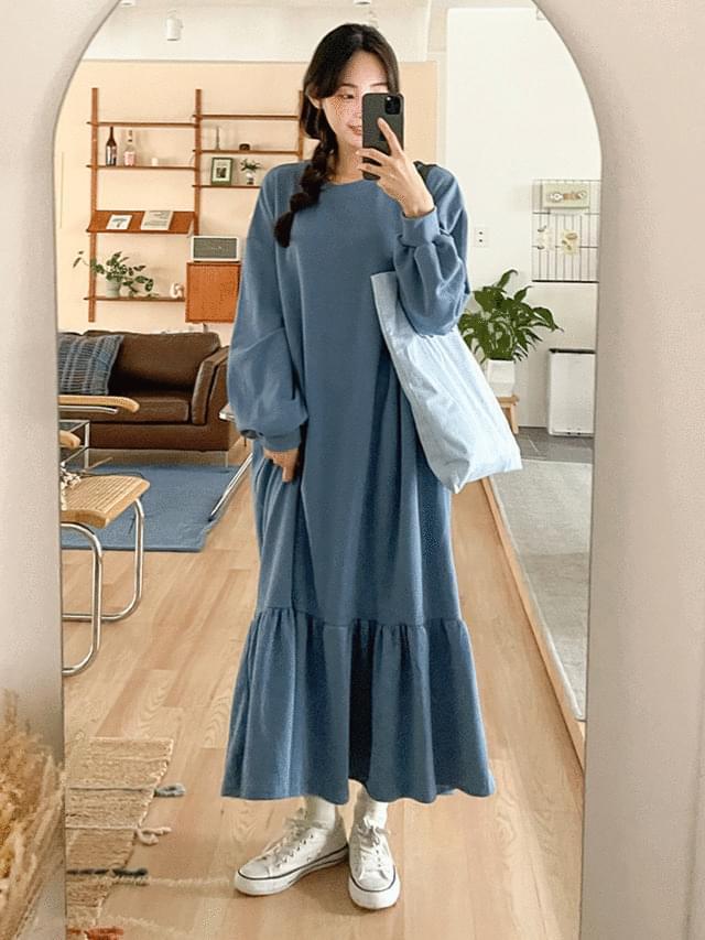 Big Size Sweatshirt Moki Ruffle Sweatshirt Long Dress