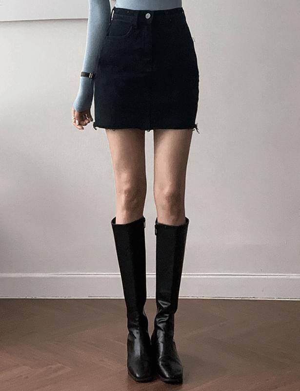 On-B cut denim skirt pants