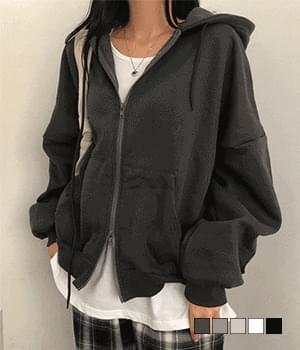 Boy Fleece-lined two-way overfit hooded zip-up