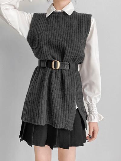 Leavening Knitwear Belt Dress