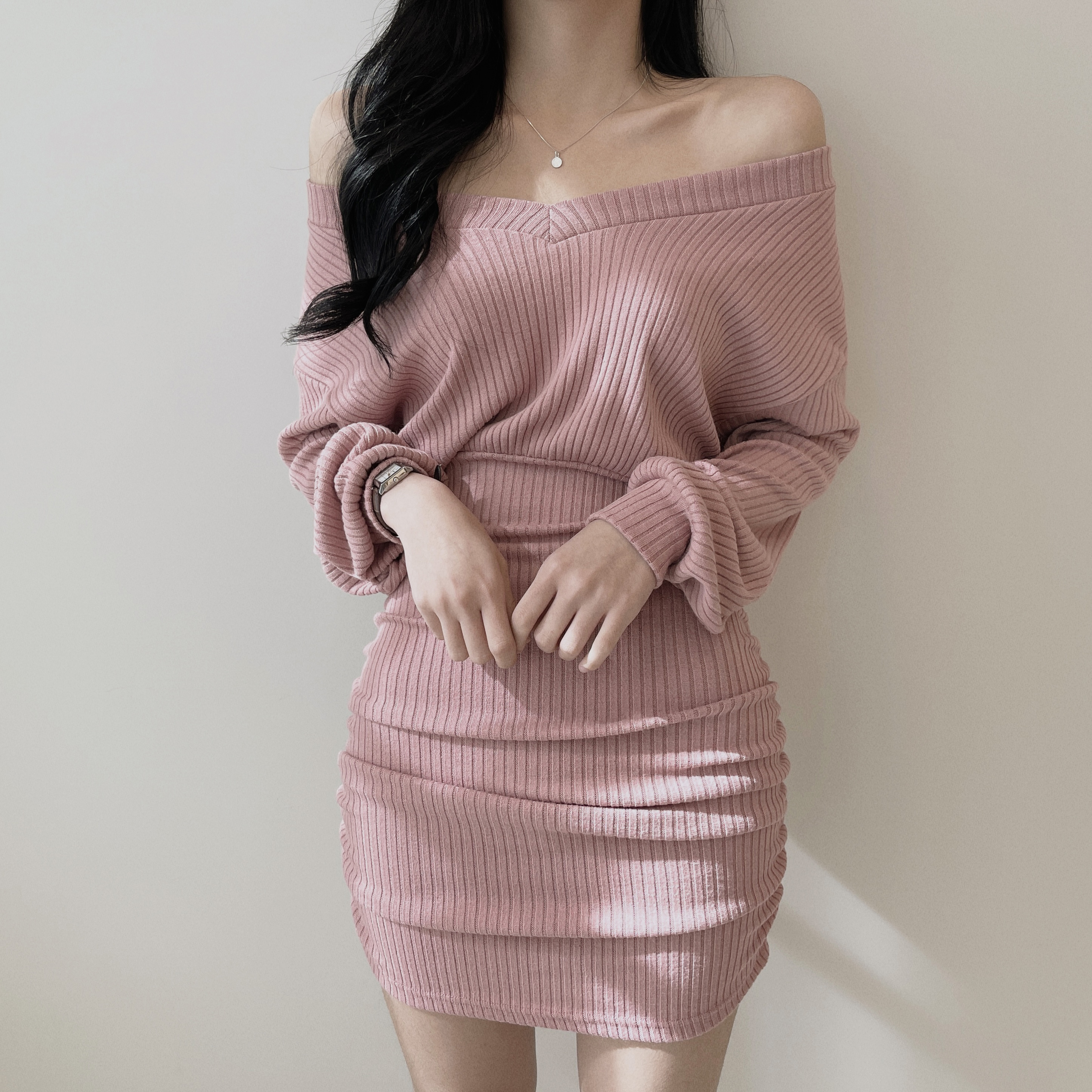 Peach V-Neck Shirring Knitwear Mini Dress