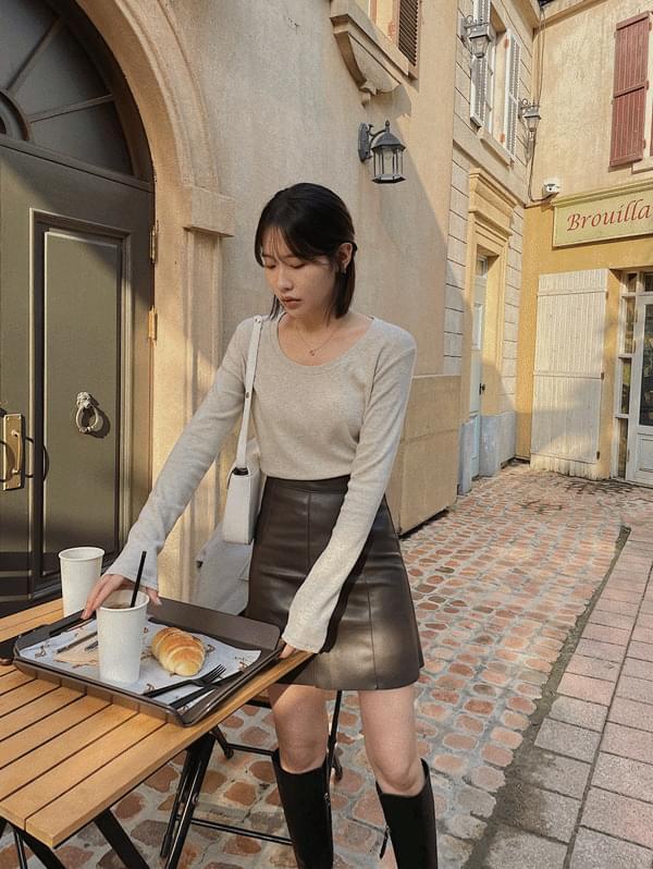 wear Ribbed long sleeve tee - 4color