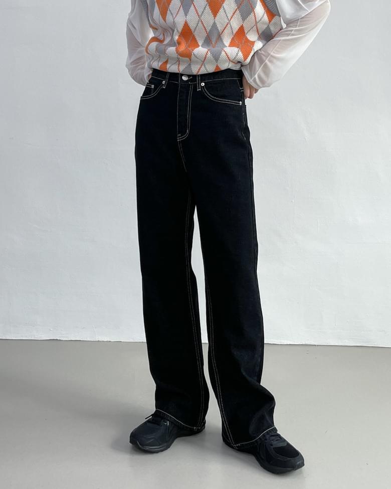 Stitched Standard Denim Pants