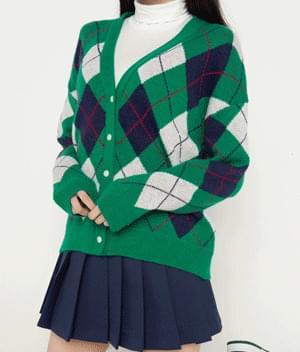 Argyle Pattern Green Cardigan