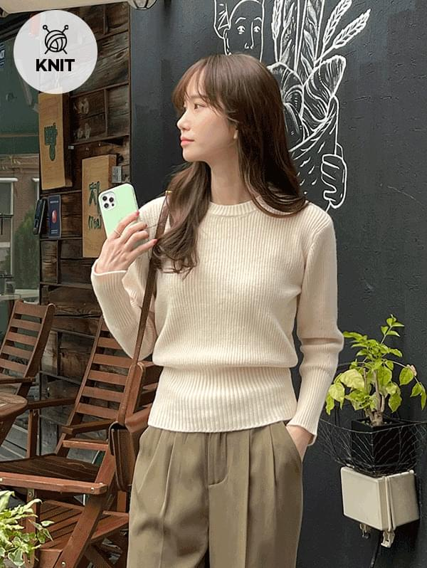 Think of You Round Ribbed Long Sleeve Knitwear - 4color 針織衫