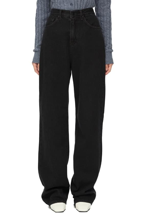 Milky Black Long Straight Jeans