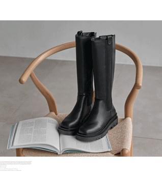 Back Zipper Long Worker Boots #86670