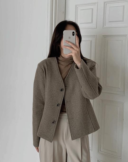 Fuse V-Neck -neck no-collar short jacket - 2 color