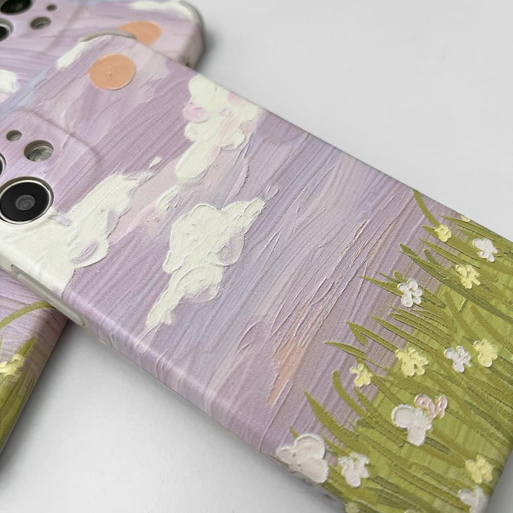 purple oil painting drawing matte iphone case