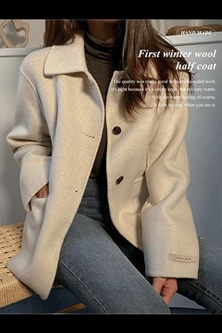 First winter wool half coat