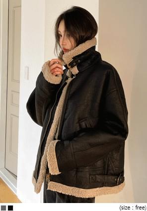 Sherpa Fleece Faux Leather Jacket