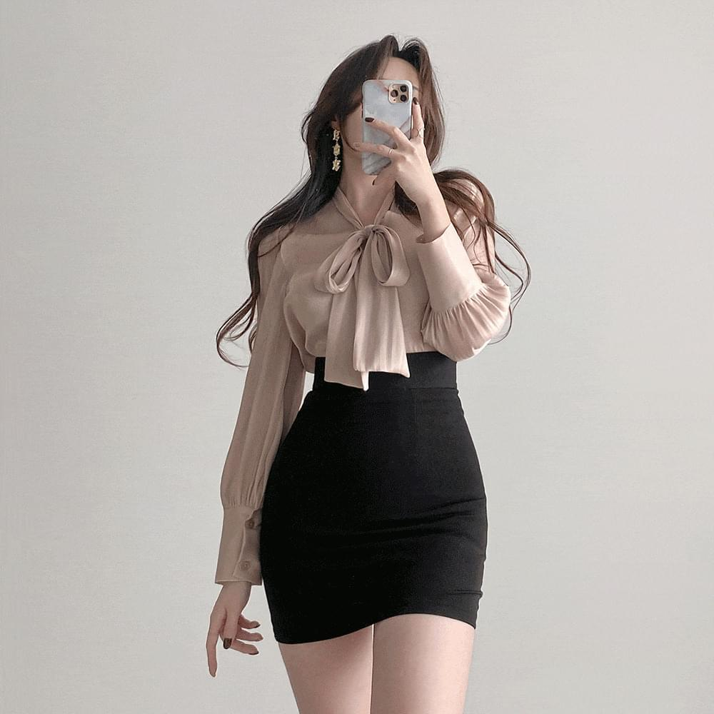 Gorgeous Silky Pearl Shining Ribbon Tie Shatin Blouse 3color
