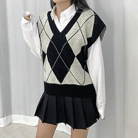 Loose Diamond Knitwear Vest