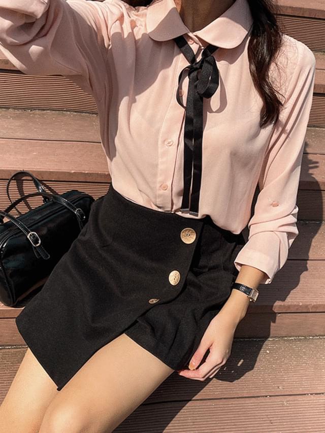 Big Size 55-120 Appen Ribbon Tie Blouse