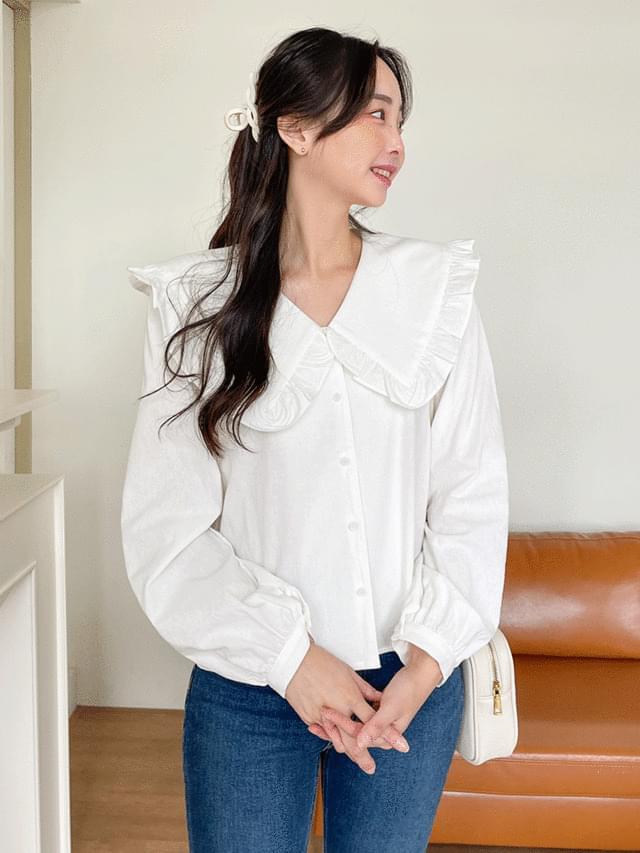 pome big frill collar blouse