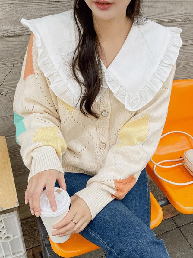 Big Size 55-120 Kat Argyle Pearl Knitwear Cardigan