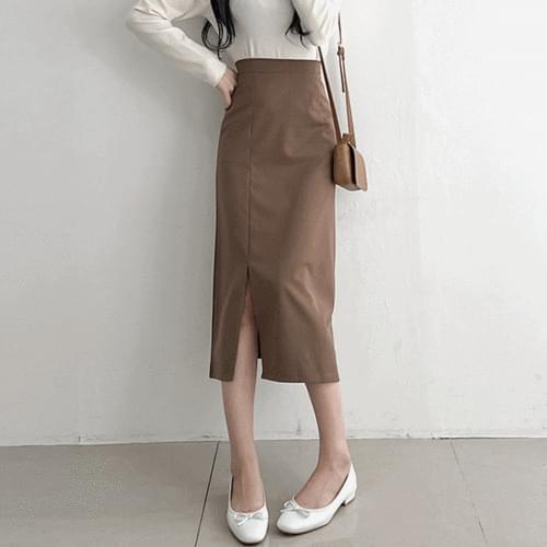H line high waist split long skirt 3color