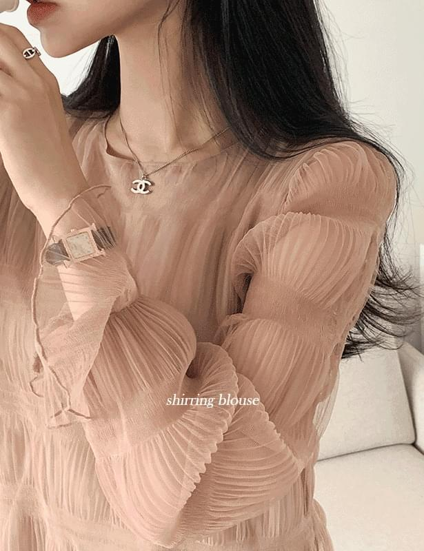 Canus smoke shirring blouse beige, black available to order