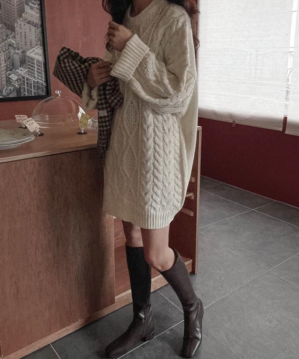 Pi Cable Knitwear Mini Dress