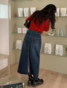 back slit denim long skirt