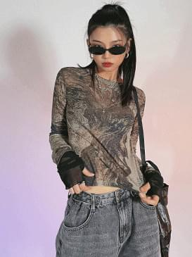 Ethnic Cand see-through T-shirt