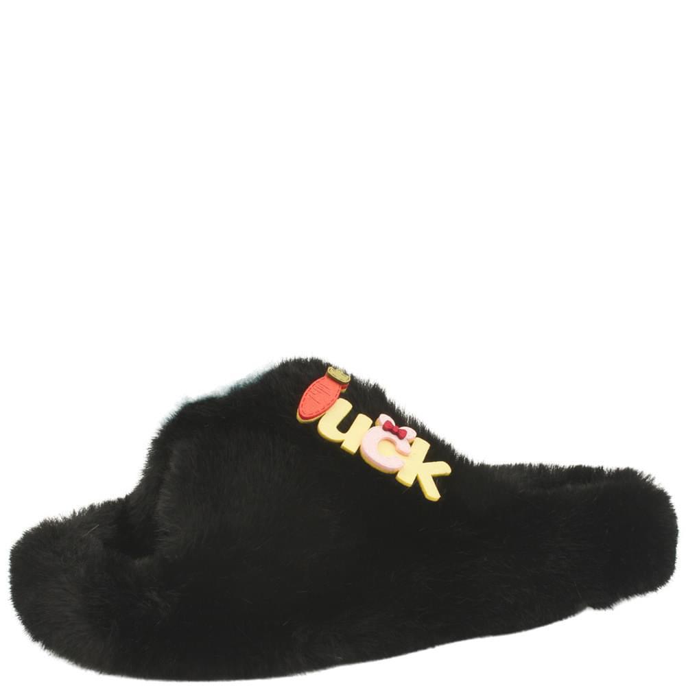 cross strap cute floral fur slippers black