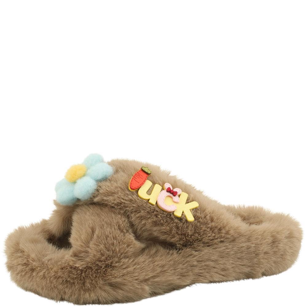 cross strap cute floral fur slippers beige
