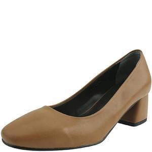 Domestic square toe simple middle heel jean beige